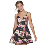 Juniors' Speechless Floral Print Sleeveless Skater Dress