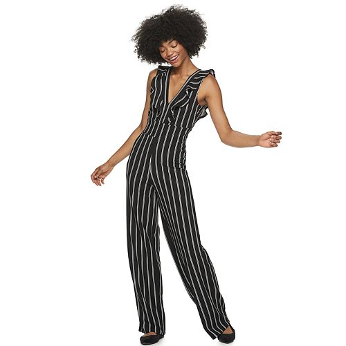Juniors' Almost Famous Ruffle Jumpsuit