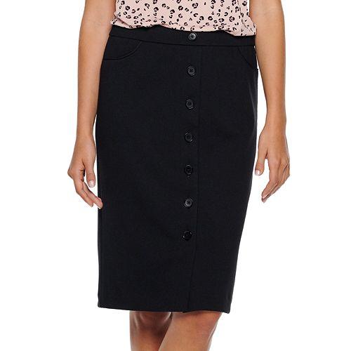 Petite ELLE™ Button-Front Pencil Skirt