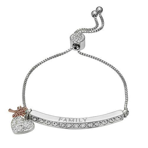 "Brilliance ""Family"" Bar Bracelet with Swarovski Crystals"