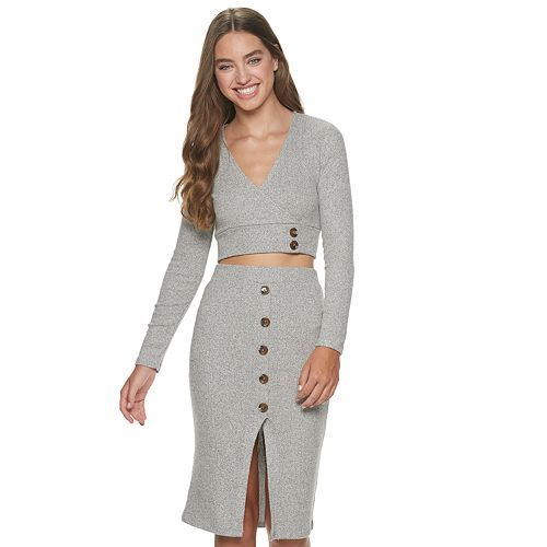 Juniors' Almost Famous Surplice Top With Button Slit Skirt