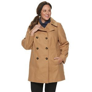 Plus Size TOWER by London Fog Double-Breasted Wool Blend Coat
