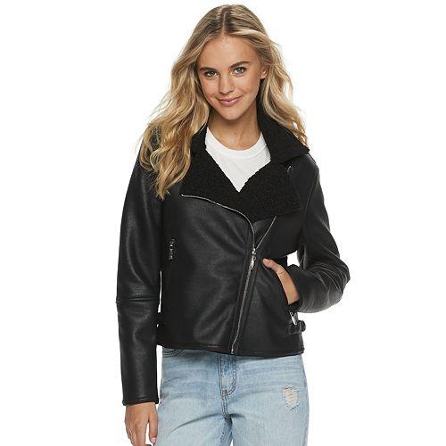 Juniors' Jou Jou Teddy Collar Moto Jacket
