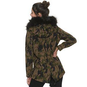 Juniors' Jou Jou Faux Fur Camo Wool Blend Jacket