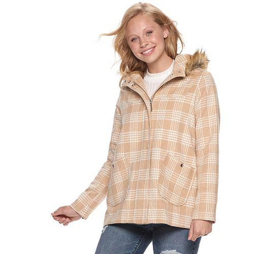 Juniors' Jou Jou Wool Blend Hooded Jacket