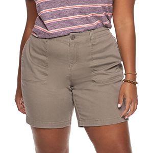 Juniors' Plus Size Unionbay Stretch Twill Bermuda Shorts
