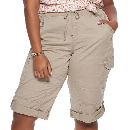 Juniors' Plus Size Unionbay Stretch Lightweight Twill Cropped Pants