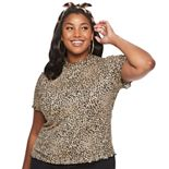 Juniors' Plus Size Candie's® Short Sleeve Mock Neck Tee