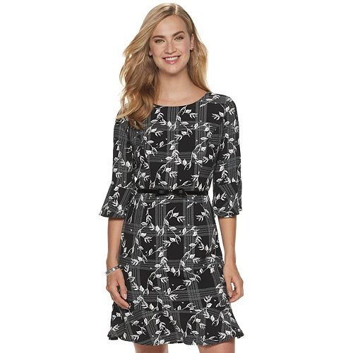 Petite ELLE™ Floral Bell-Sleeve Shift Dress