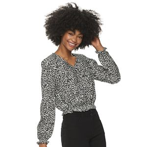 Juniors' Candie's Ruched Front Smocking Top