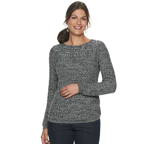 Petite Croft & Barrow® Cable Boatneck Sweater