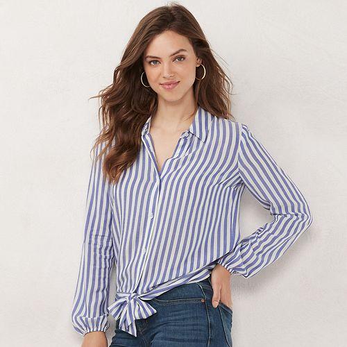 Women's LC Lauren Conrad Banded Knot-Hem Shirt
