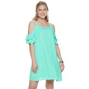 Women's Nina Leonard Ruffle Gauze Float Dress