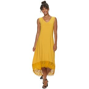 Women's Nina Leonard Lace High-Low Hem Midi Dress