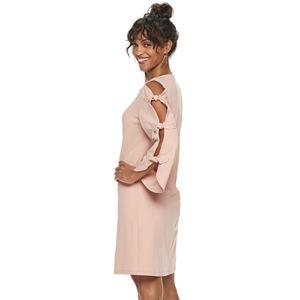 Women's Nina Leonard Bow Ladder-Sleeve Sheath Dress