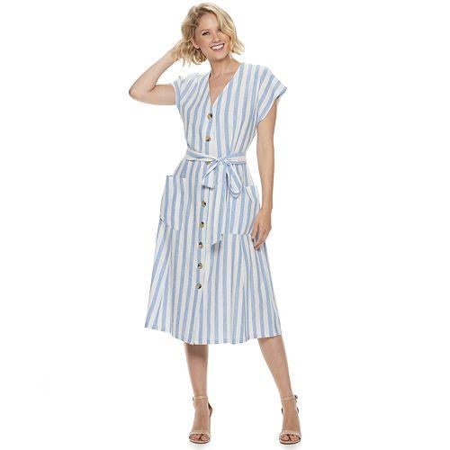 Women's Nina Leonard Midi Length Shirt Dress