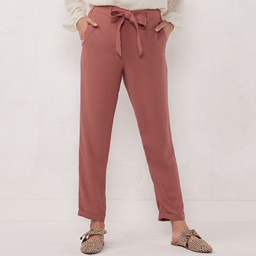 Women's LC Lauren Conrad Belted Trapunto Slim Trouser Pants