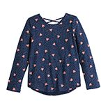 Girls 4-12 Jumping Beans® Long-Sleeve Crossback Tee with Allover Print