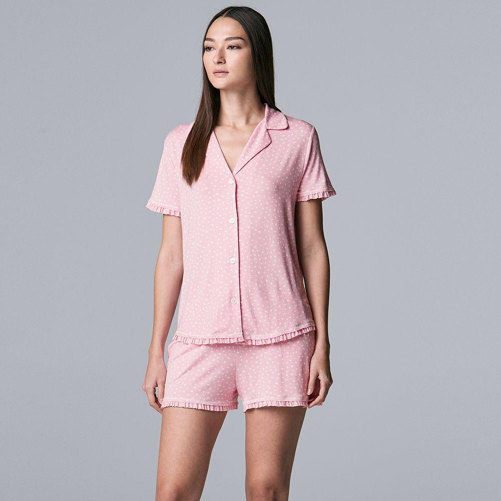 Women's Simply Vera Vera Wang Missy Notch Top & Shorts Set