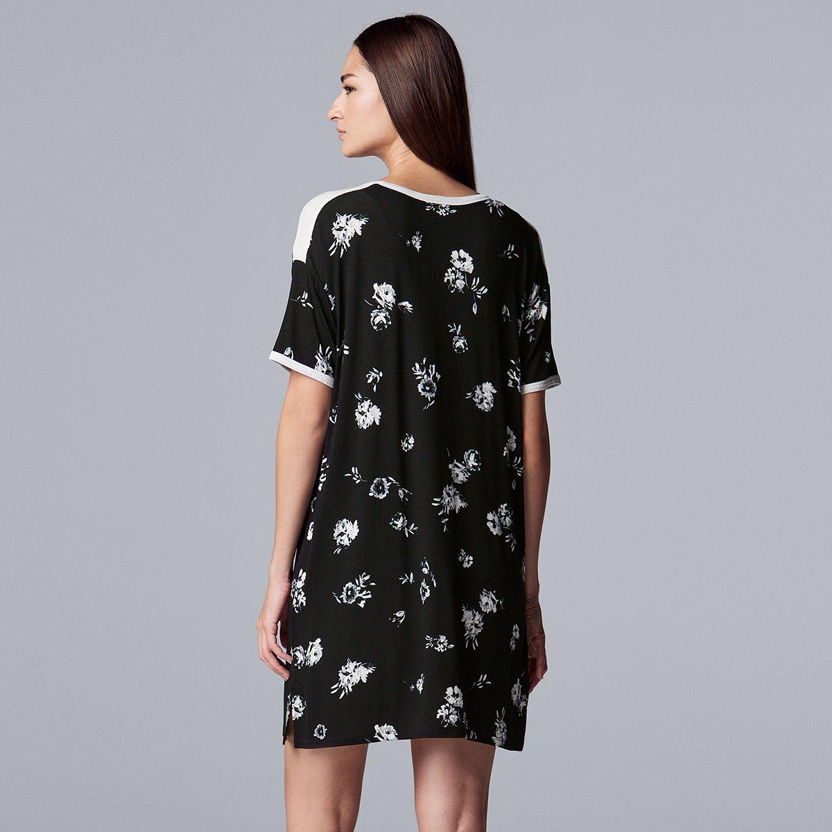 Women's Simply Vera Vera Wang Missy Short Sleeve Sleepshirt Gray Multi Stripe juzPk