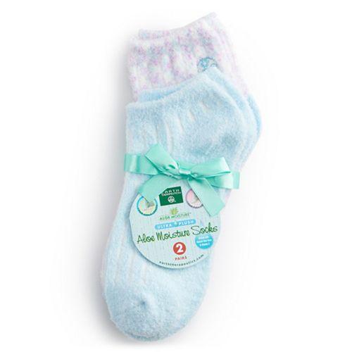 Earth Therapeutics 2-Pack Aloe Moisture Socks - Blue Striated & Confetti