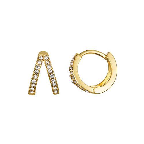 LC Lauren Conrad Gold Tone Simulated Crystal Huggie Nickel Free Hoop Earrings