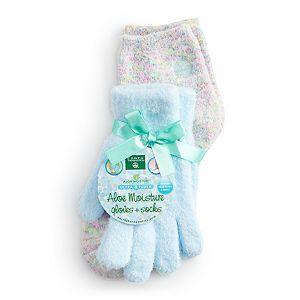 Earth Therapeutics Aloe Moisture Gloves & Socks Set - Confetti / Blue