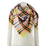 Women's SO® Neon Lights Plaid Triangle Blanket Wrap Scarf