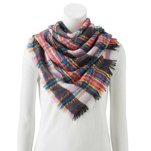 Women's SO® Hi Lo Multi Texture Triangle Blanket Scarf