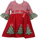 Baby Girl Bonnie Jean Three Quarter Sleeve Knit Babydoll with Applique Trees