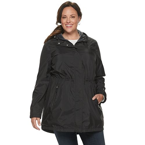 Plus Size Free Country Hooded Water-Resistant Anorak Jacket
