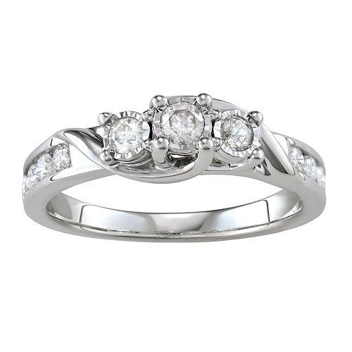 10k Gold 1/2 Carat T.W. Diamond 3-Stone Ring