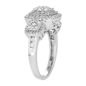 10k White Gold 1 Carat T.W. Diamond 3-Stone Style Cluster Ring