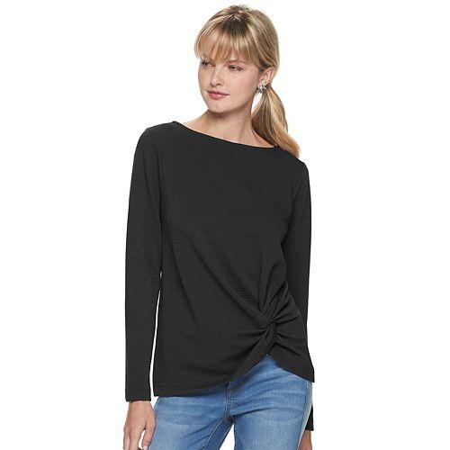 Women's Apt. 9® Long Sleeve Twist Front Top