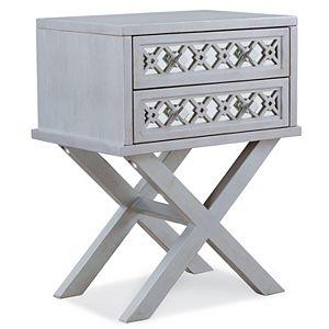 Leick Furniture Mirrored Filigree Two Drawer Nightstand