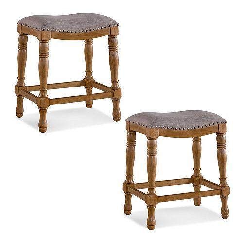 Leick Furniture Rustic Wood Saddle Seat Counter Stool