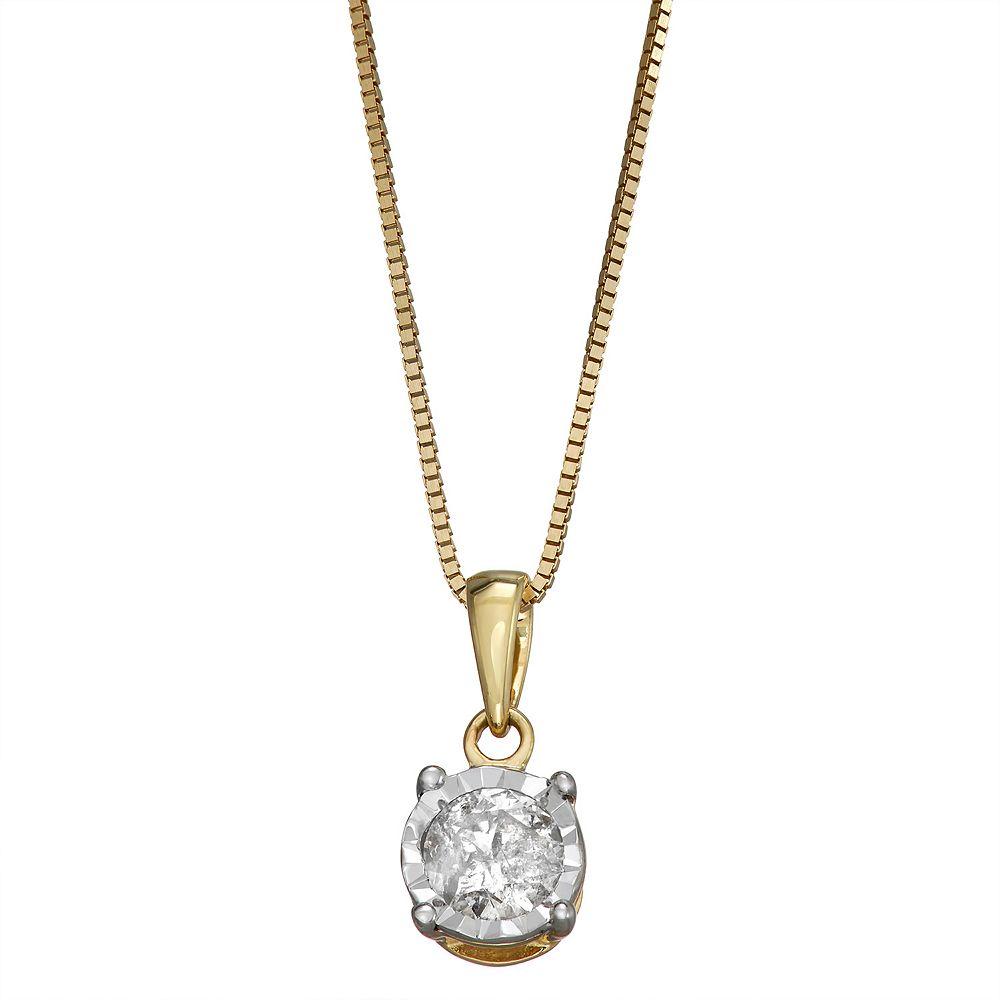 10k Gold 1/3 Carat T.W. Diamond Solitaire Pendant Necklace