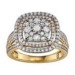10k Gold 1 Carat T.W. Diamond Cluster Halo Ring