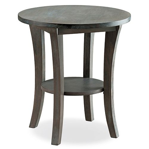 Leick Furniture Rustic Wire Brushed Round Side Table