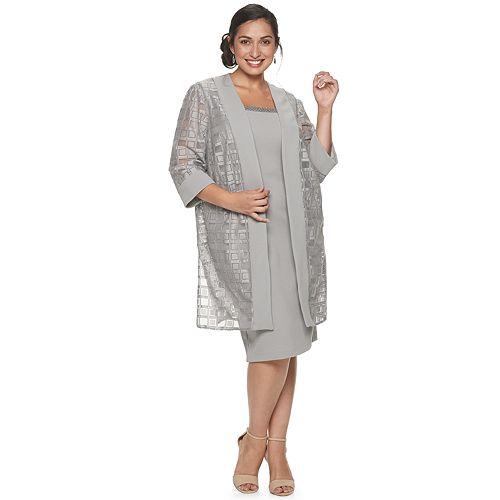 Women\'s Plus Size Maya Brooke Geometric Lace with Embellished Neckline Long  Jacket Dress