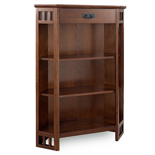 Leick Furniture Mission Oak Corner Bookcase with Drawer