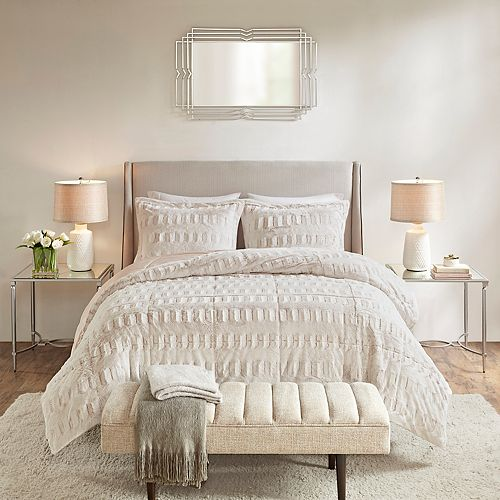 Madison Park Margot Long Faux Fur Comforter Set