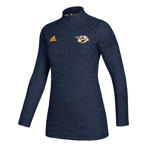 Women's adidas Nashville Predators Game Mode Knit 1/4-Zip Pullover