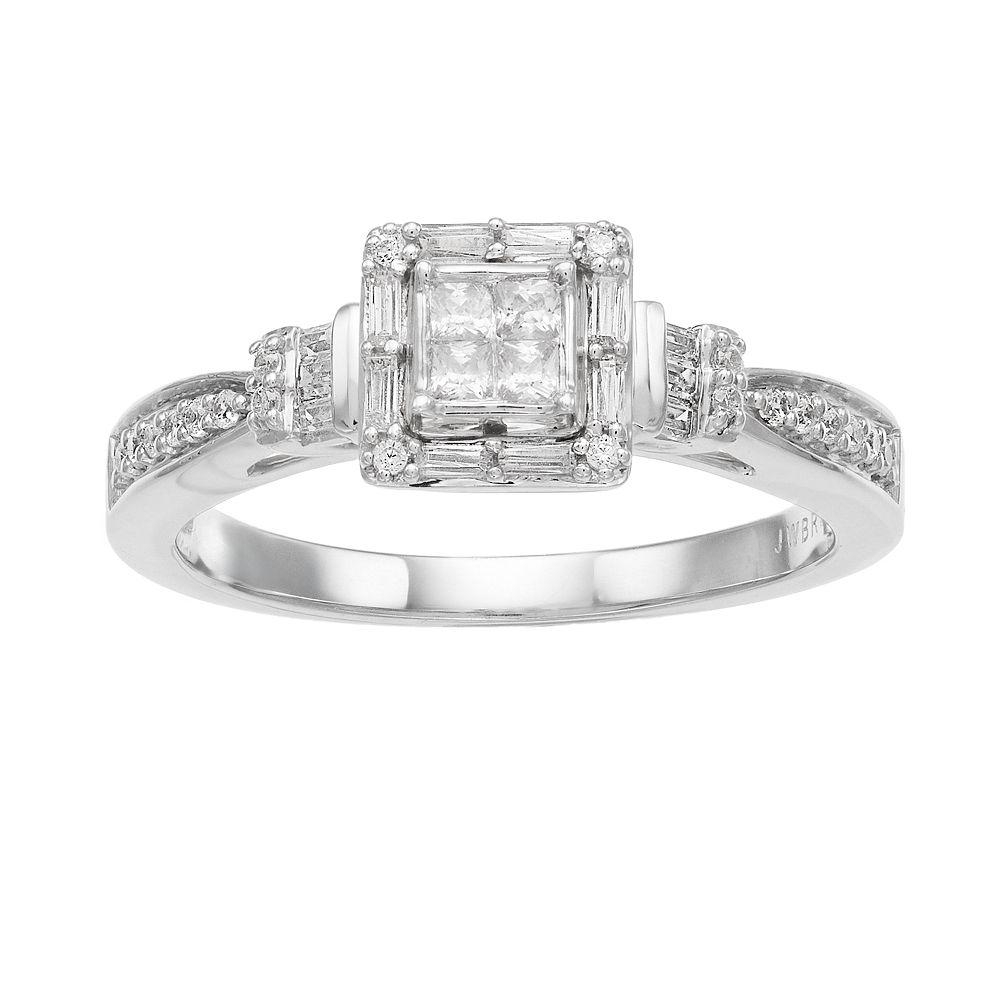Lovemark 1/3 Carat T.W. Diamond 10k White Gold Square Halo Engagement Ring