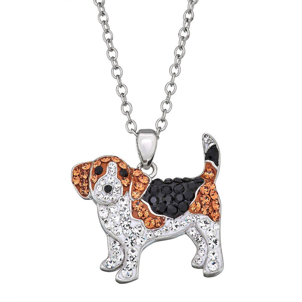 Crystal Beagle Pendant Necklace