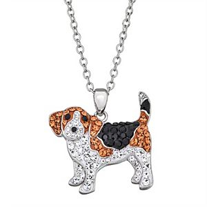 Crystal Beagle Pendant Necklace