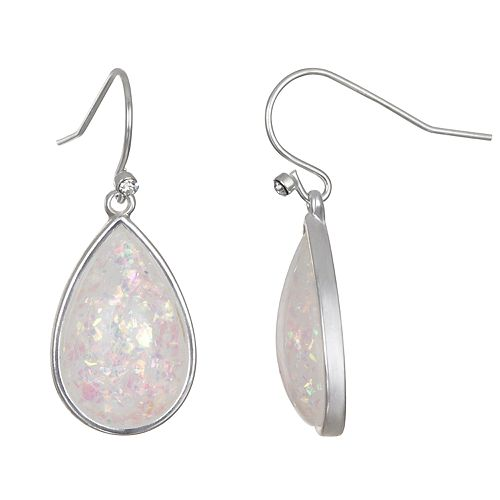 LC Lauren Conrad Bezel Tear Drop Earrings