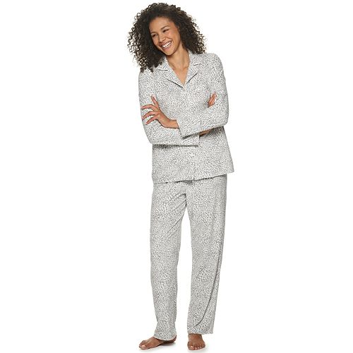 Petite Croft & Barrow® Long Sleeve Velour Notch Set