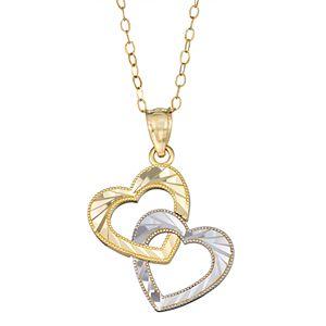 Two Tone 10k Gold Interlocking Heart Pendant Necklace