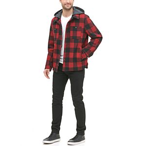 Men's G.H. Bass Plaid Wool-Blend Hooded Workwear Shirt Jacket